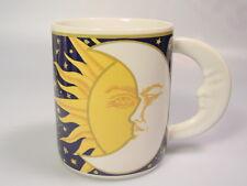 Celestial stoneware Coffee Mug Cup Moon Sun Stars blue-yellow-white Vitromaster