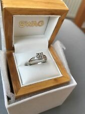 18ct White Gold .33ct Diamond engagement princess Ring size H 1/2 Ring