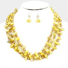 Three Strand Yellow mother Of Pearl shell And Glass Bead Necklace Earring