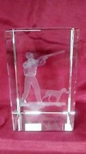 Bevelled Edge Glass 3D Laser Block Paperweight : Shooting / Hunting
