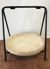 Rustic Wood Round Serving Dish Food Tray Stand Centerpiece Unstained Primitive
