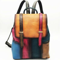 New Designer Cow Leather Reto Backpack Women's Colorful Travel Bag College Bag