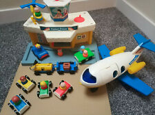 Vintage 1980's Fisher Price Toy Airport includes Plane, People, Helicopter & Car