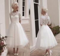 3/4 Sleeve White/Ivory Tea Length Short Lace Wedding Dress Bridal Gown Size6-18