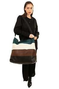 RRP€1795 RICK OWENS Leather Hobo Bag Oversized Partly Suede Zipped Made in Italy