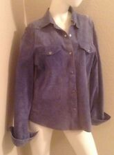 Preowned Karen Kane Long Sleeve Blue Suede Shirt/Jacket XL