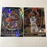 (2 LOT) 2020-21 Prizm Draft Picks CRUSADE Hyper Rookie JAMES WISEMAN Memphis RC