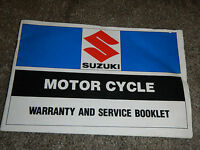 1983 83 SUZUKI WARRANTY AND SERVICE SHOP SERVICE REPAIR MANUAL