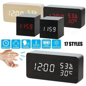 Modern Wooden Wood Digital LED Desk Alarm Clock Voice Control Thermometer USB