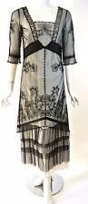 NATAYA Black/White Lace Sheer Formal Dress Steampunk Fancy gown Vintage look S/6