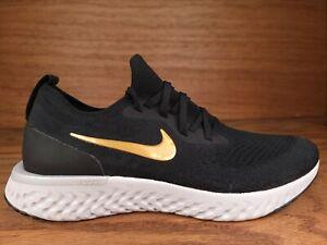 Nike Women's Epic React Flyknit Shoes Black Metallic Gold AQ0070-013 Sz 10.5 NEW