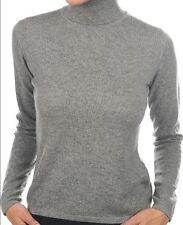 Balldiri 100% Cashmere Kaschmir Damen Pullover Rollkragen ohne Bündchen grau M
