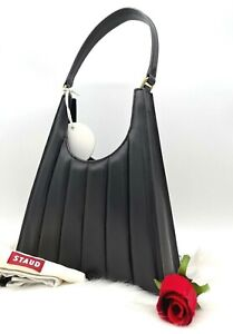AUTH NWT $350 STAUD Rey Quilted Leather Hobo Shoulder Bag In Black Color