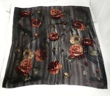 Ralph Lauren Women's Silk Scarf Oversize Large Roses Floral Gray Gift Holiday