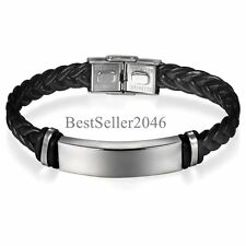 Personalized Men Unisex Silver Stainless Steel ID Black Leather Braided Bracelet