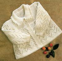 "Baby Matinee Coat Picot Collar Zig Zag Eyelet  4Ply 18""- 19"" ~  Knitting Pattern"
