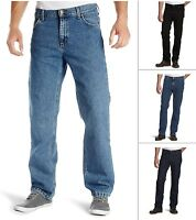 New Men's Lee Brooklyn Denim Jeans Stonewash Dark Blue Black Regular Comfort Fit
