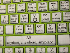 KEYBOARD TYPING COMPUTER PHONE TABLET EMOTICONS GREEN COTTON FABRIC FQ