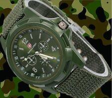 Montre militaire Homme armée suisse Gemius army Bracelet tissu vert militaire