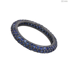 Blue Sapphire Eternity Band Ring Vintage Style Gemstone Studded Jewelry Silver