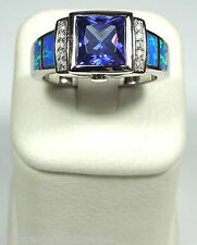 Tanzanite & Blue Fire Opal Inlay 925 Sterling Silver Men's Ring Sizes 6 - 12