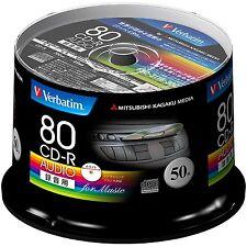 50 Verbatim Blank CD-R for Music 80 Minutes 1 - 48x Speed Inkjet Printable Discs