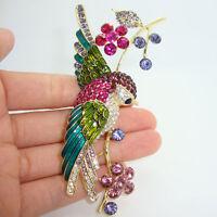 Art Nouveau Colorful Swallow Bird Flower Brooch Pin Rhinestone Crystal