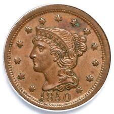1850 N-17 R-4 PCGS AU 58 Braided Hair Large Cent Coin 1c