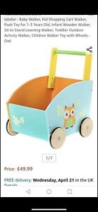 Infant First Steps Push Along Walker Toy Baby Mobility Wooden Pull Storage Box
