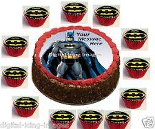 Batman Cake topper & 12 cupcakes edible image icing  REAL FONDANT