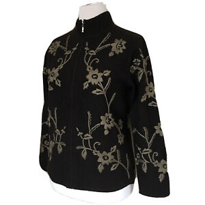 100% Wool Cardigan Embroidered Zip Up UK 16-18 Alex & Co Brown