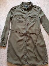 Ladies size 12 Army Green Lyocell shirt long sleeve belt dress BNWT Only