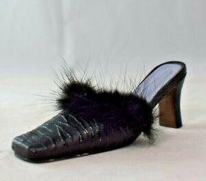 "Miniature 4.5"" Black Kitten Heeled Mule with Fur Trim - Resin Figure"