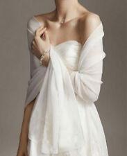 2White/Ivory chiffon bridal wrap wedding shawl scarf cover up long shrug stole