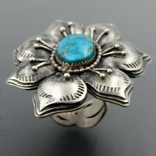 HANDCRAFTED STERLING SILVER AMERICAN TURQUOISE LARGE FLOWER RING SIZE 10.25