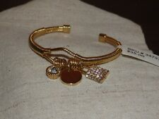 Pave Lock Charm Wire-Wrapped Cuff Bracelet Gold