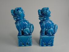 Pair of Chinese Foo Dogs Blue Glaze Porcelain Statues oriental decor