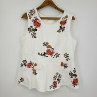 Sundance Floral Embroidered Sleeveless Blouse Womens Large White Top