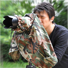 Universal SLR Camera 400mm Lens CAMOUFLAGE RAIN COVER Clear Window Dazzle (L)