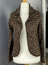 Womens Monsoon Brown Jacket/Cardigan Size 12 Collar Long Sleeved Check Effect