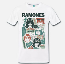 maglietta bianca con logo musica punk rock stile invecchiato T-Shirt Ramones