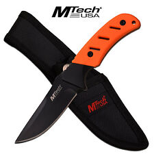 Mtech Fixed Blade Orange Rubberized Handle Hunting Knife #20-71OR