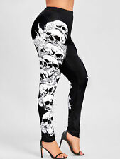 Women's Plus Size Leggings Monochrome Skulls Leggings Elastic Waist Pants