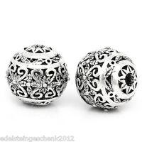 10 Antik Silber Hohle Gravur Muster Spacer Perlen Beads 11x10mm