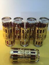 VINTAGE LOT OF (8) CULVER CRANBERRY & 22K GOLD SCROLL HIGHBALL GLASSES TUMBLERS