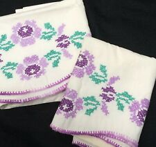 Vtg Pair Embroidered Pillowcases Cross Stitch Crocheted Purple Edging - Flaws