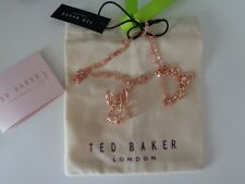 Lote: Ted Baker Rosa Oro Conejo Colgante Collar Largo Con Bolsa De Regalo