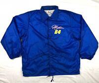Vtg Nascar Jeff Gordon Mens Blue Button Windbreaker Coaches Jacket Sz Large