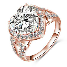 Fashion Heart Stone Rings Real Platinum Plated Sweet Ring Engagement Jewelry