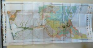 1910 Antique Map Puget Sound Basin Washington Olympia Aberdeen 53X23 #4233